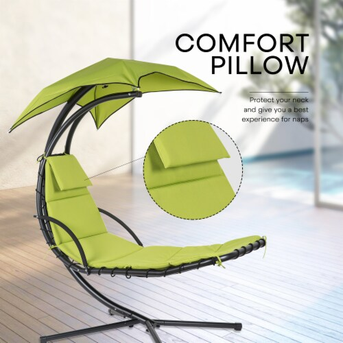 Kumo Hanging Chaise Lounge Chair Canopy Floating Chaise Lounger Swing Hammock Chair Perspective: bottom