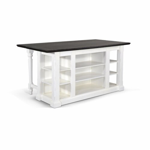 Sunny Designs Carriage House 71.5  Wood Kitchen Island in White/Dark Brown Perspective: bottom