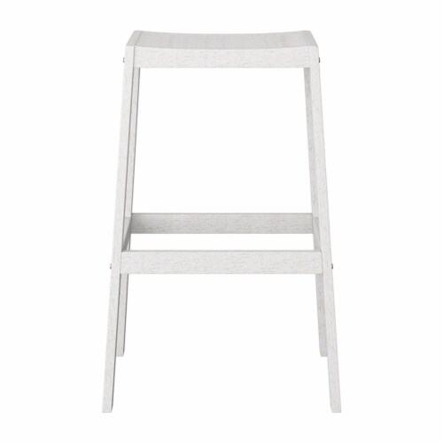 CorLiving Miramar White Washed Wood Outdoor Bar Stool Perspective: bottom