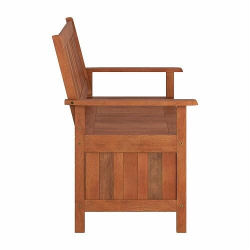 CorLiving Miramar Natural Hard Wood Outdoor Storage Bench Perspective: bottom