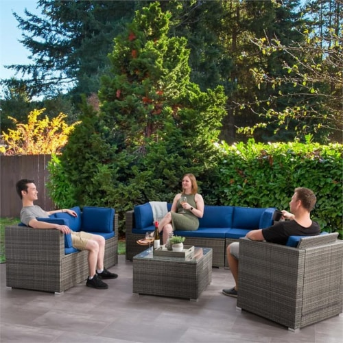 CorLiving Patio Sofa Sectional Set 7pc - Grey with Oxford Blue Fabric Cushions Perspective: bottom