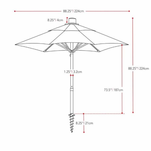 UV and Wind Resistant 7.5' Beach or Patio Umbrella in Red - CorLiving Perspective: bottom