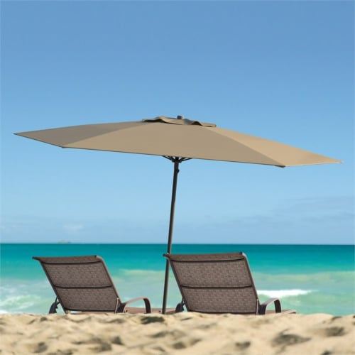 UV and Wind Resistant 7.5' Beach or Patio Umbrella in Brown - CorLiving Perspective: bottom
