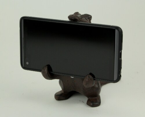 Brown Cast Iron Alligator Cell Phone Stand Perspective: bottom