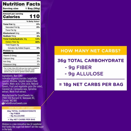 Smart Sweets Gummy Worms, Candy with Low Sugar (4g), Low Calorie, (Pack of 4) Perspective: bottom