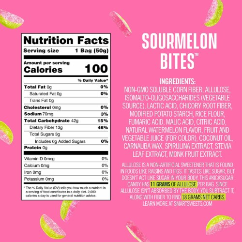 SmartSweets Sourmelon Bites, Candy with Low Sugar (3g), Low Calorie, 1.8 oz (Pack of 4) Perspective: bottom