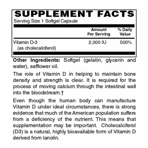Holly Hill Health Foods, Vitamin D3 2000 IU, 100 Softgels Perspective: bottom