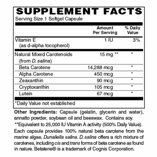 Holly Hill Health Foods, Beta Carotene, 90 Softgels Perspective: bottom