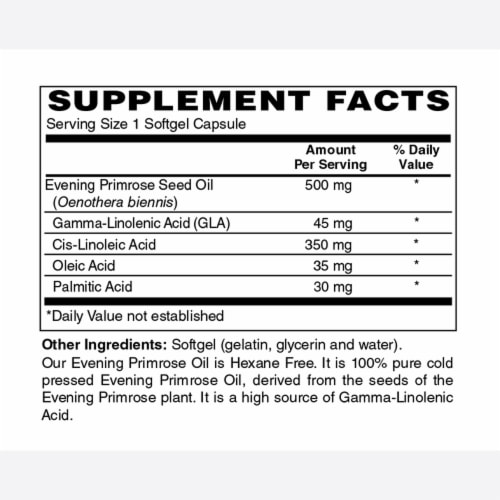 Holly Hill Health Foods, Evening Primrose Oil 500 MG, Hexane Free, 180 Softgels Perspective: bottom