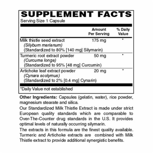 Holly Hill Health Foods, European Standardized Milk Thistle, 175 MG, 120 Capsules Perspective: bottom