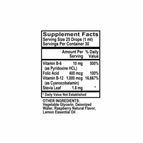 Holly Hill Health Foods, Vitamin B12 (with B6 & Folic Acid), Raspberry, 1 Ounce Perspective: bottom