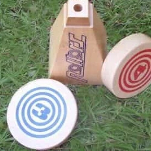 Rollors Outdoor All Wood Game Combining Bocce, Horseshoes and Bowling Perspective: bottom