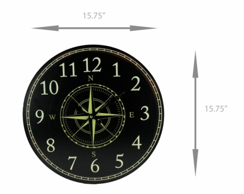 Black and White Compass Rose Round Wall Clock Perspective: bottom