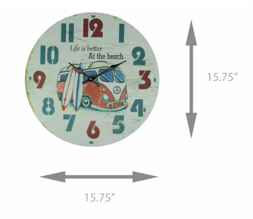 Weathered White Wood Vintage Surfer Bus Wall Clock Perspective: bottom
