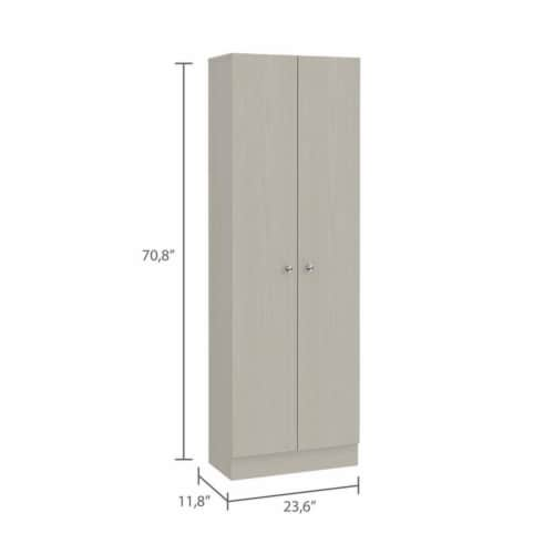 TuHome Modern Off White Engineered Wood Multistorage 70  Two Door Pantry Perspective: bottom