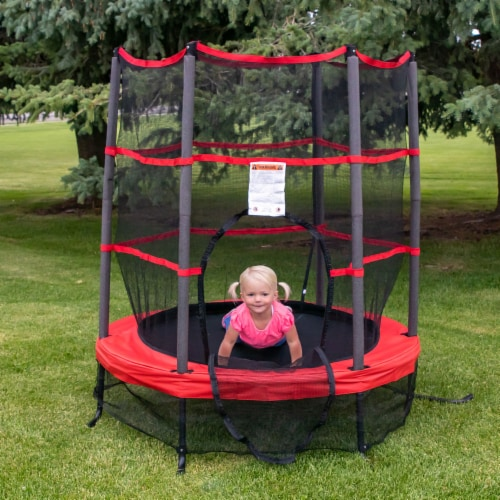 Propel Trampolines 55 Inch Preschool Trampoline with Zippered Entrance, Red Perspective: bottom