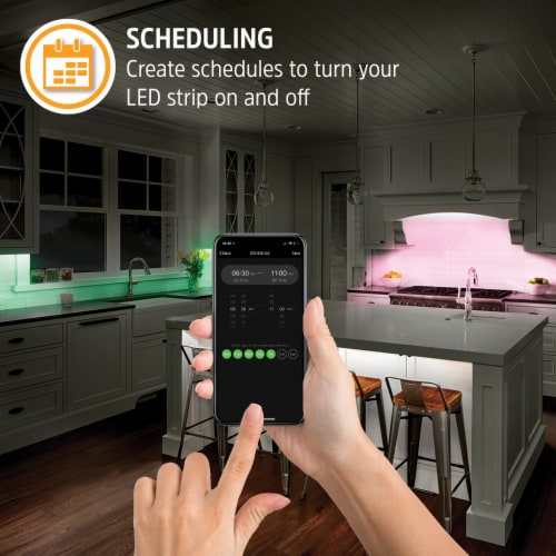 Smart Wi-Fi Dimmable Bright White and LED Light Strip, 6.56 Feet Perspective: bottom