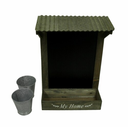 My Home Wooden Chalkboard Wall Hanging w/Shelf & Planters Perspective: bottom