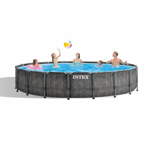 Intex Greywood Prism 18ft x 48in Frame Above Ground Swimming Pool Set with Pump Perspective: bottom