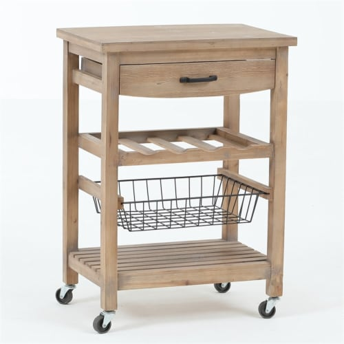 LuxenHome Natural Finish Wood Mobile Bar and Wine Cart Perspective: bottom