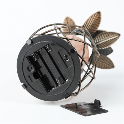 LuxenHome Brown Iron Pineapple Battery-Op Tabletop Lantern Perspective: bottom