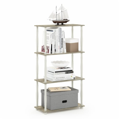 Furinno Turn-N-Tube 4-Tier Shelf Display Rack with Classic Tubes, Sonoma Oak and White Perspective: bottom