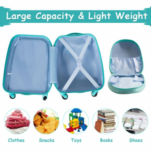Gymax 2PC Kids Luggage Set Backpack & Rolling Suitcase Travel ABS Flamingos Perspective: bottom