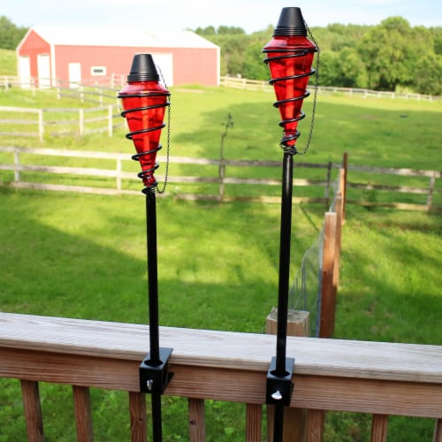Sunnydaze 2-in-1 Metal Swirl with Red Glass Outdoor Lawn Torch - Set of 2 Perspective: bottom