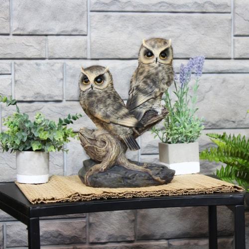 Sunnydaze Watchful Owls Outdoor Garden Statue - 13-Inch Perspective: bottom