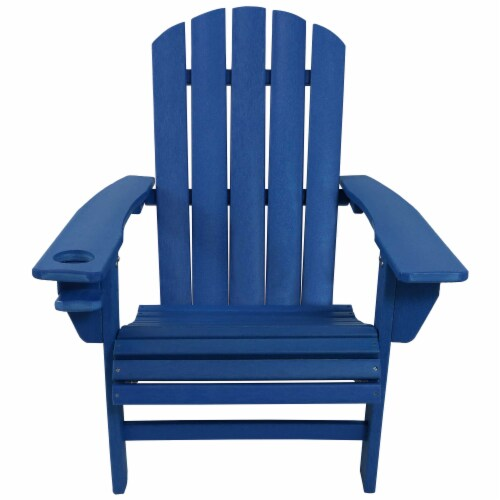 Sunnydaze All-Weather Blue Outdoor Adirondack Chair with Drink Holder - Set of 2 Perspective: bottom