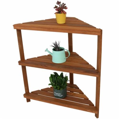 Sunnydaze Meranti Wood Teak Oil Finish 3-Tier Indoor/Outdoor Corner Plant Stand Perspective: bottom