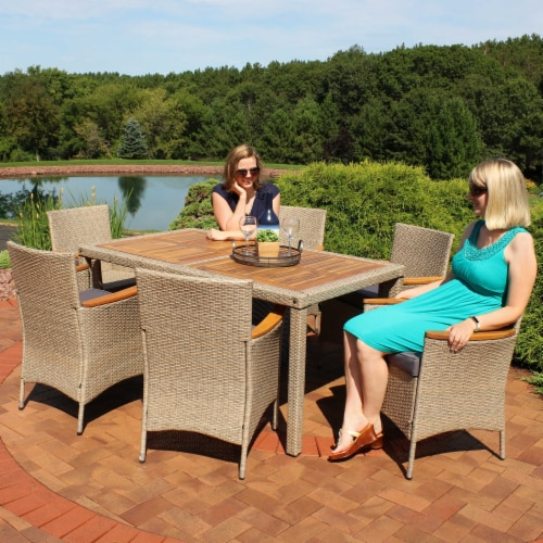 Sunnydaze Foxford 7-Piece Outdoor Dining Patio Furniture Set with Cushions Perspective: bottom