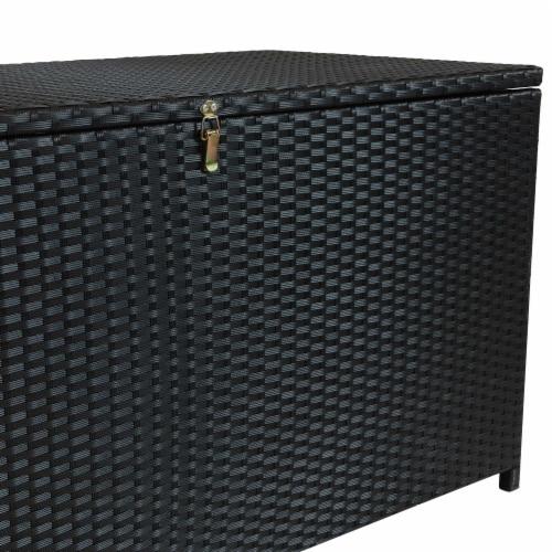 Sunnydaze Outdoor Storage Deck Box with Acacia Handles - Black Resin Rattan Perspective: bottom