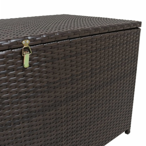 Sunnydaze Outdoor Storage Deck Box with Acacia Handles - Brown Resin Rattan Perspective: bottom