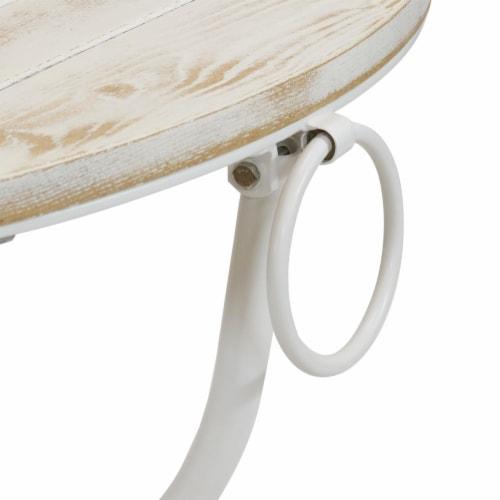 Sunnydaze French Country European Chestnut White Bistro Table - 28-Inch Round Perspective: bottom