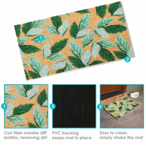 """Sunnydaze 17"""" x 29"""" PVC and Coir Indoor/Outdoor Doormat - Green Leaves Perspective: bottom"""