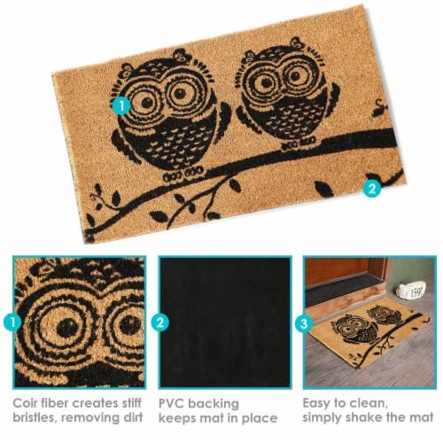 """Sunnydaze 17"""" x 29"""" PVC and Coir Indoor/Outdoor Doormat - Black/Tan Owl Perspective: bottom"""