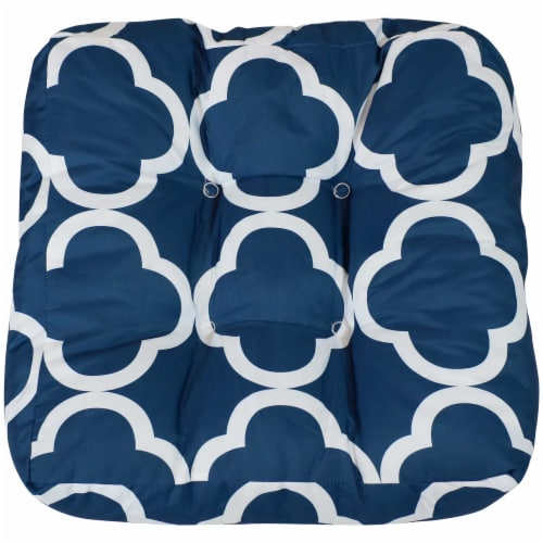 Sunnydaze Set of 2 Tufted Outdoor Seat Cushions - Navy Blue and White Quatrefoil Perspective: bottom