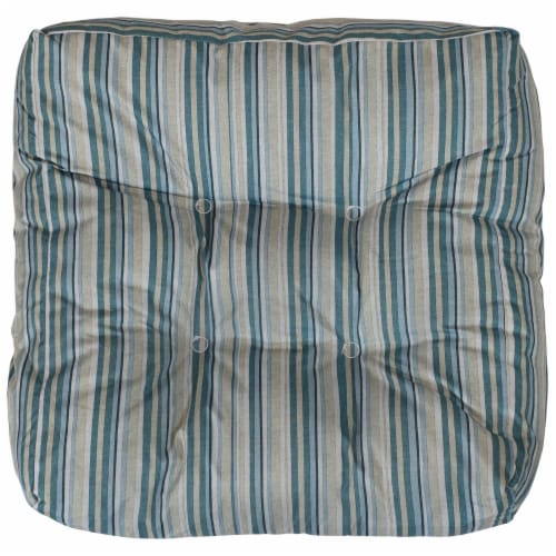 Sunnydaze Set of 2 Tufted Outdoor Seat Cushions - Neutral Stripes Perspective: bottom