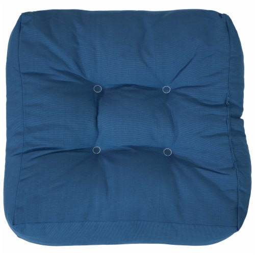 Sunnydaze Set of 2 Tufted Outdoor Seat Cushions - Blue Perspective: bottom