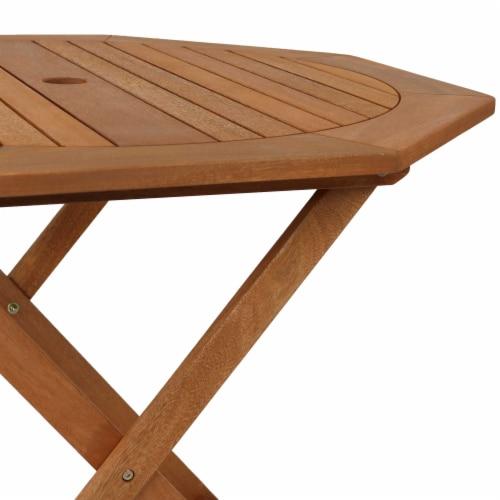 Sunnydaze Meranti Wood 5-Piece Outdoor Folding Patio Dining Set Perspective: bottom