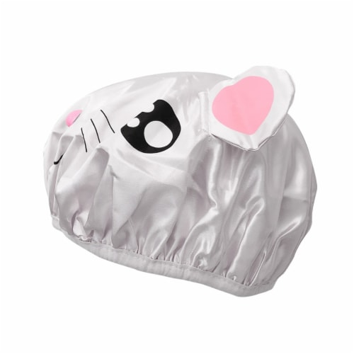 Wrapables Fun Double Layer Waterproof Shower Caps for Kids (Set of 2), Animal Ears Perspective: bottom