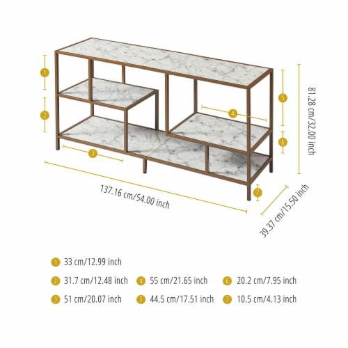 Versanora Wooden TV Stand Unit With Faux Marble/Brass Finish Marmo VNF-00084 Perspective: bottom