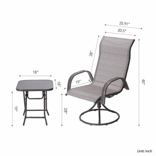 Peaktop Patio Furniture Set Garden Table & 2 Chairs Gray Bistro Set PT-OF0003 Perspective: bottom