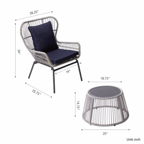Peaktop Patio Furniture Set Table & 2 Chairs Blue & Gray Wicker PT-OF0006 Perspective: bottom