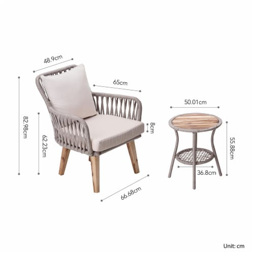 Peaktop Patio Furniture Set Table & 2 Chairs Wicker Bistro Set Brown PT-OF0008 Perspective: bottom