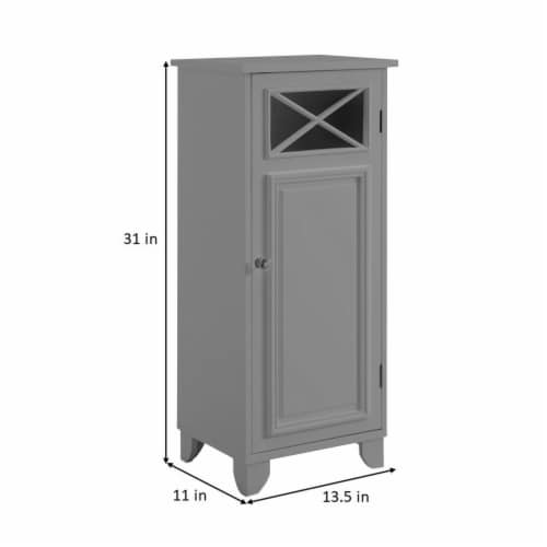 Elegant Home Fashions Bathroom Floor Cabinet With One Door Grey Dawson EHF-6834G Perspective: bottom