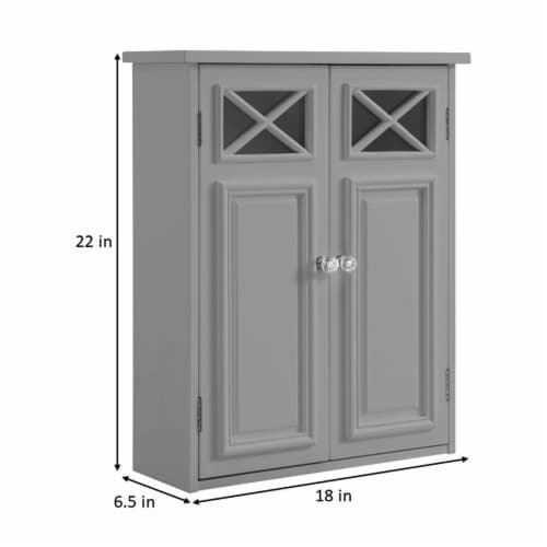 Elegant Home Fashions Bathroom Wall Cabinet With Two Doors Grey Dawson EHF-6810G Perspective: bottom
