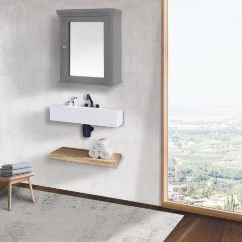 Elegant Home Fashions Wooden Bathroom Medicine Cabinet Mirror Grey EHF-6544G Perspective: bottom