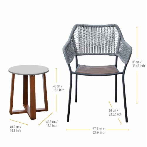 Peaktop Patio Furniture Set Table & 2 Chairs Stackable Bistro Set Wood PT-OF0012 Perspective: bottom